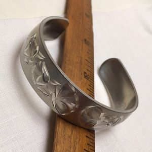 Vintage Engraved Pewter Cuff
